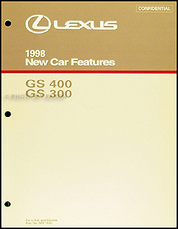 1998 Lexus GS 300 400 Features Manual Original
