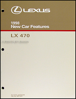 1998 Lexus LX 470 Features Service Training Manual Original