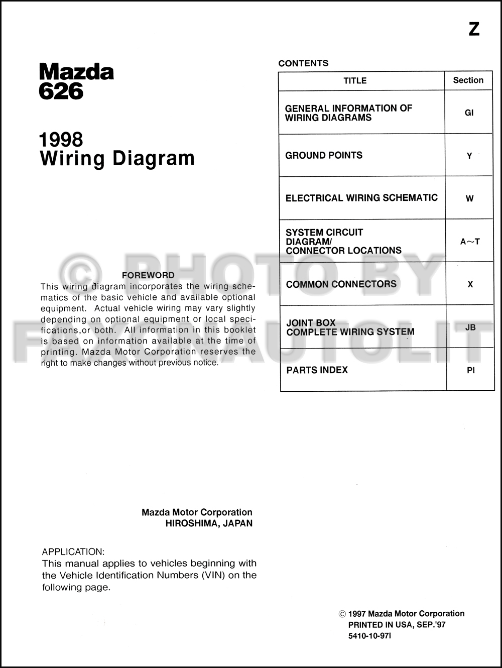 1998 Mazda 626 Wiring Diagram Manual Original