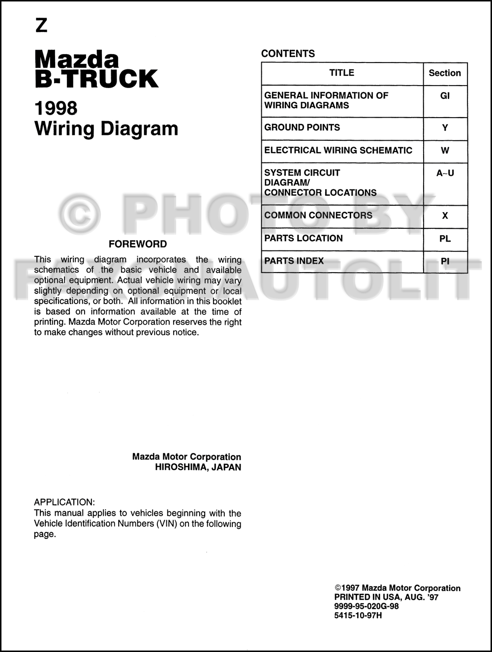 1998 Mazda B4000 B3000 B2500 Pickup Truck Wiring Diagram Manual 1999 Miata Original 2 Door