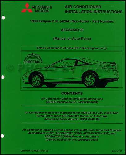 1998 Mitsubishi Eclipse 2.0L Non-Turbo Air Conditioner Installation Manual Original