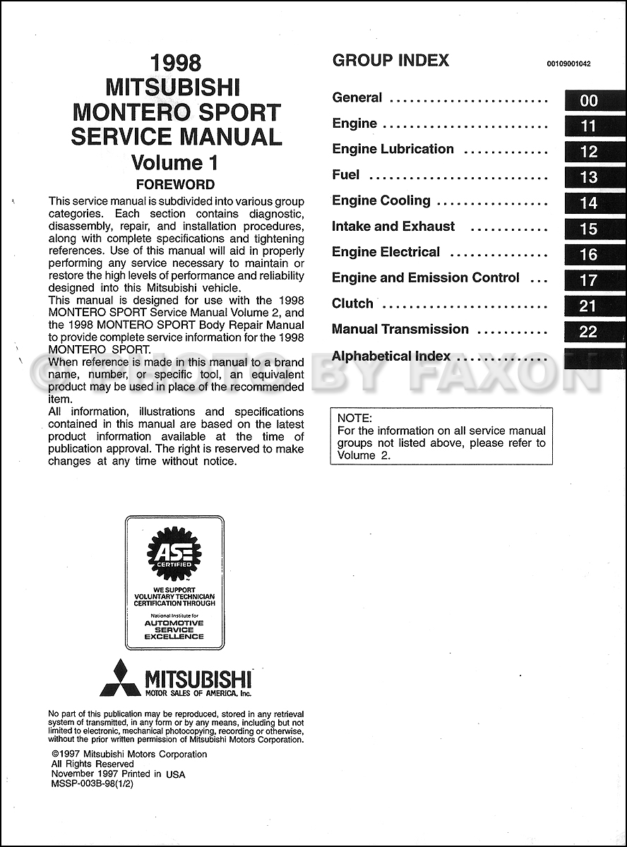 1998 Mitsubishi Montero Repair Manual Set Original · Table of Contents: Volume  1