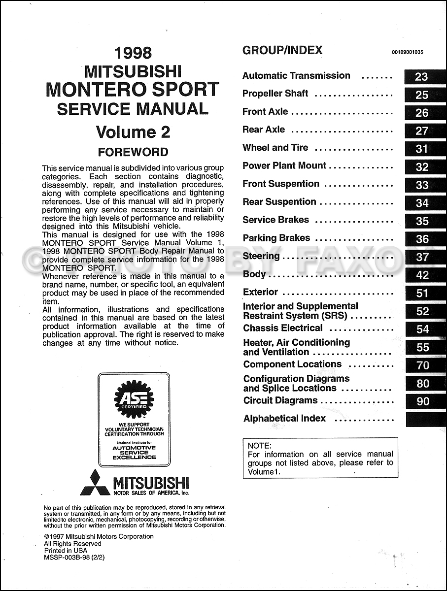1998 Mitsubishi Montero Repair Manual Set Original · Table of Contents: Volume  1 · Table of Contents: Volume 2