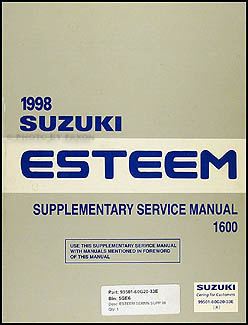 1998 Suzuki Esteem 1600 Repair Manual Supplement Original