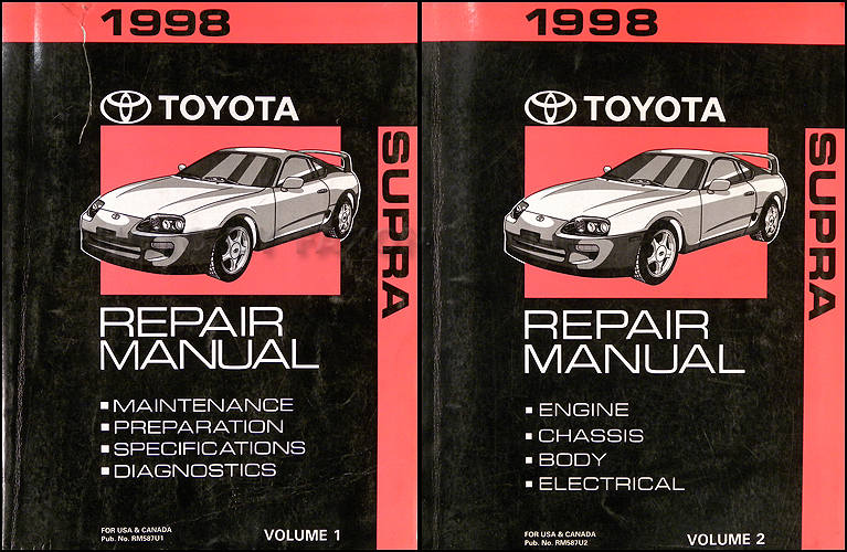 1998 Toyota Supra Repair Shop Manual Original 2 Volume Set