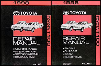 1998 Toyota T100 Repair Manual Set Original