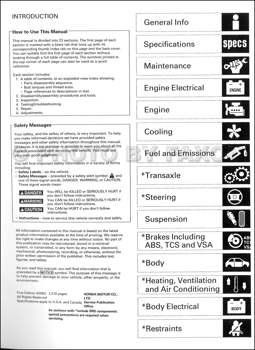 1999-2003 Acura 3.2 TL Shop Manual · Table of Contents