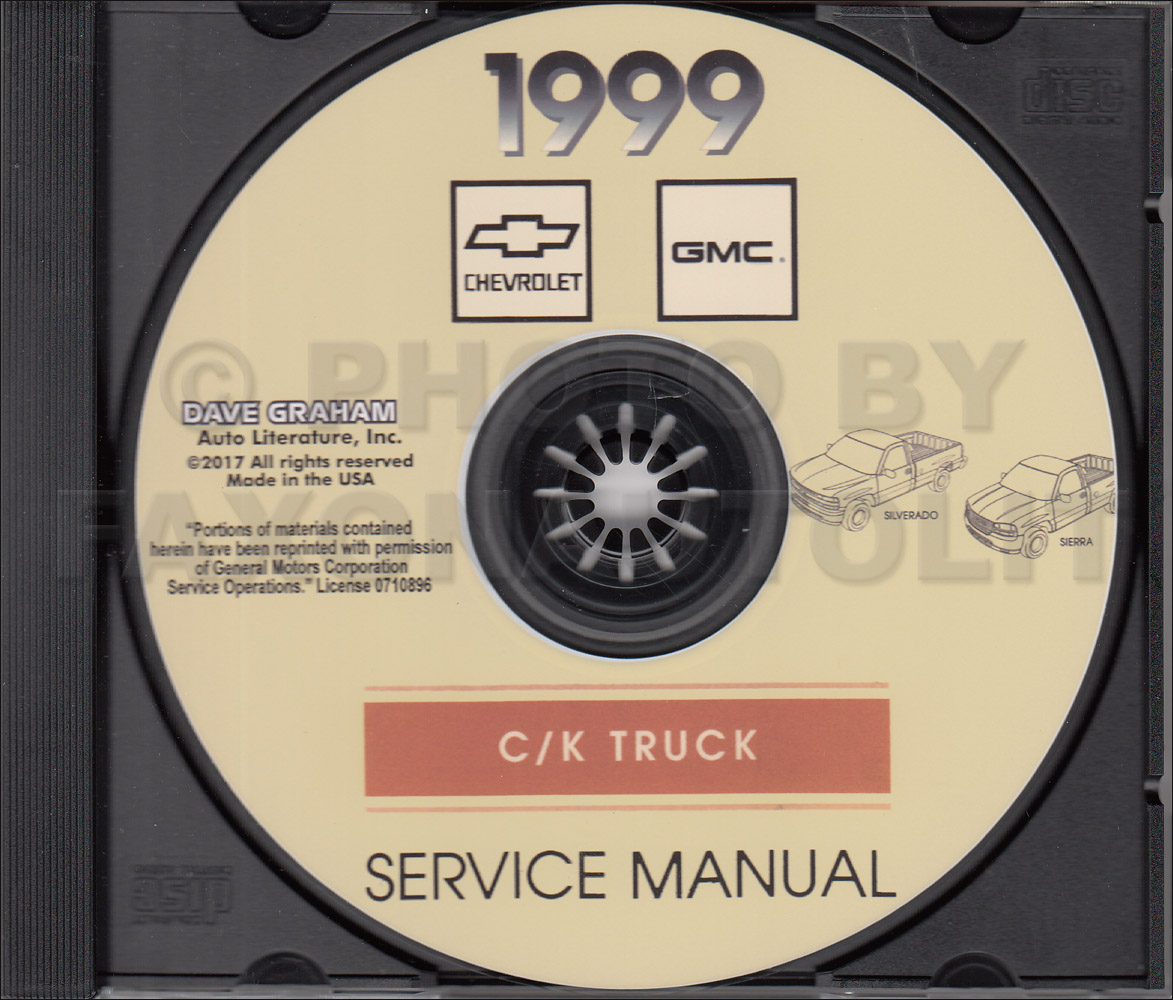 1999 Chevrolet GMC C/K Pickup Silverado Sierra Service Manual on CD