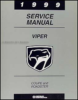 1999 Dodge Viper Coupe and Roadster Repair Manual Original