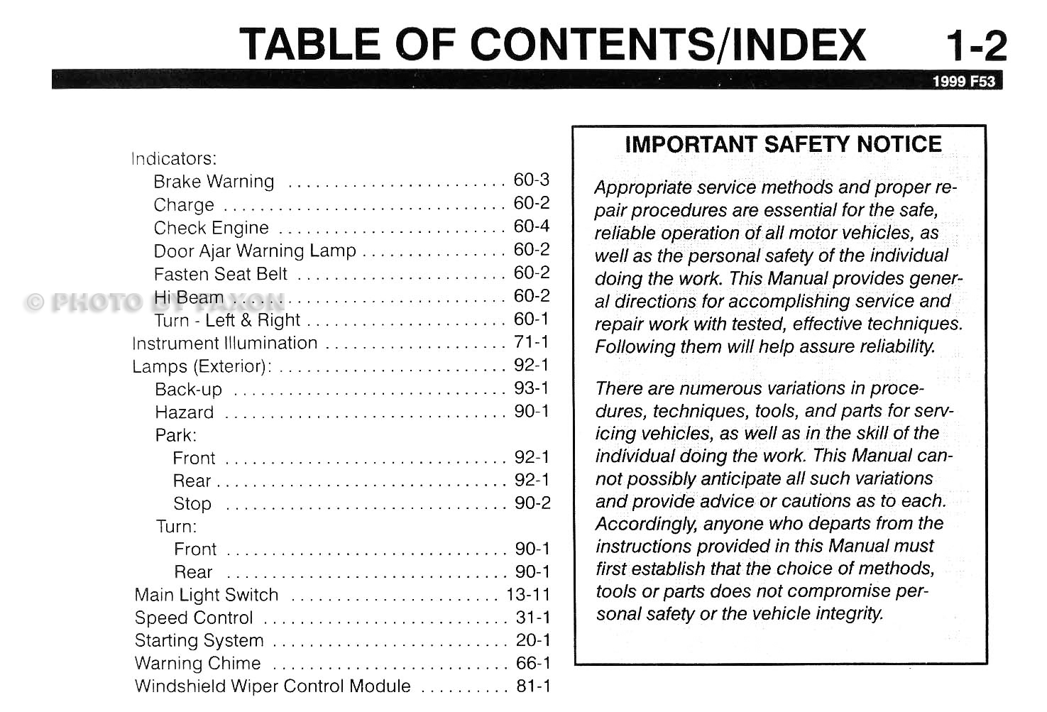 1999 Ford F53 Motorhome Class A Chassis Wiring Diagram Manual 1969 Bronco Fuse Box Table Of Contents Page 2