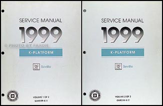 1999 Cadillac Seville Repair Manual Original 2 Volume Set