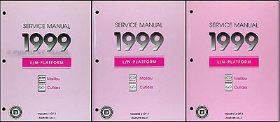 1999 Malibu and Cutlass Repair Manual Original 3 Volume Set