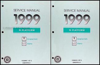 1999 Pontiac Grand Am Olds Alero Repair Shop Manual Original 2 Volume Set