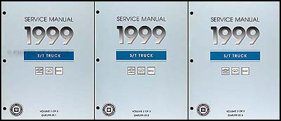 1999 S-10 Sonoma Jimmy Blazer Envoy Bravada Repair Shop Manual Set of 3
