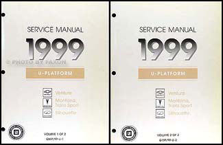 1999 Venture Montana Trans Sport Silhouette Van Repair Shop Manual Set of 2