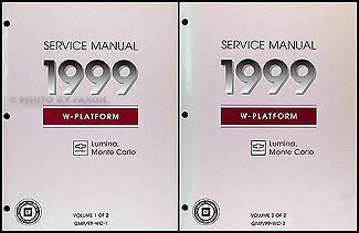 1999 Chevy Lumina & Monte Carlo Repair Manual Original 2 Volume Set