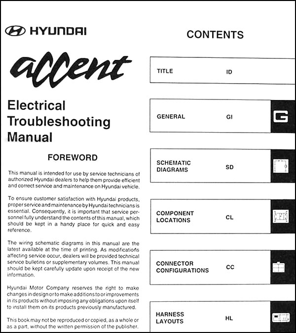 1999 Hyundai Accent Electrical Troubleshooting Manual Original