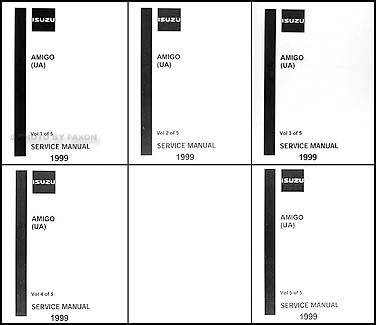 1999 Isuzu Amigo Repair Manual Original 5 Volume Set