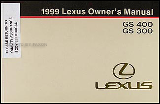 1999 Lexus GS 400 GS 300 Owners Manual Original