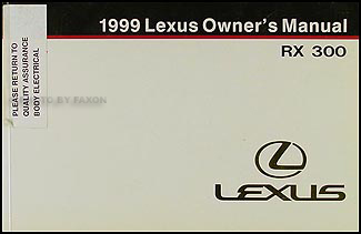 1999 Lexus RX 300 Owners Manual Original