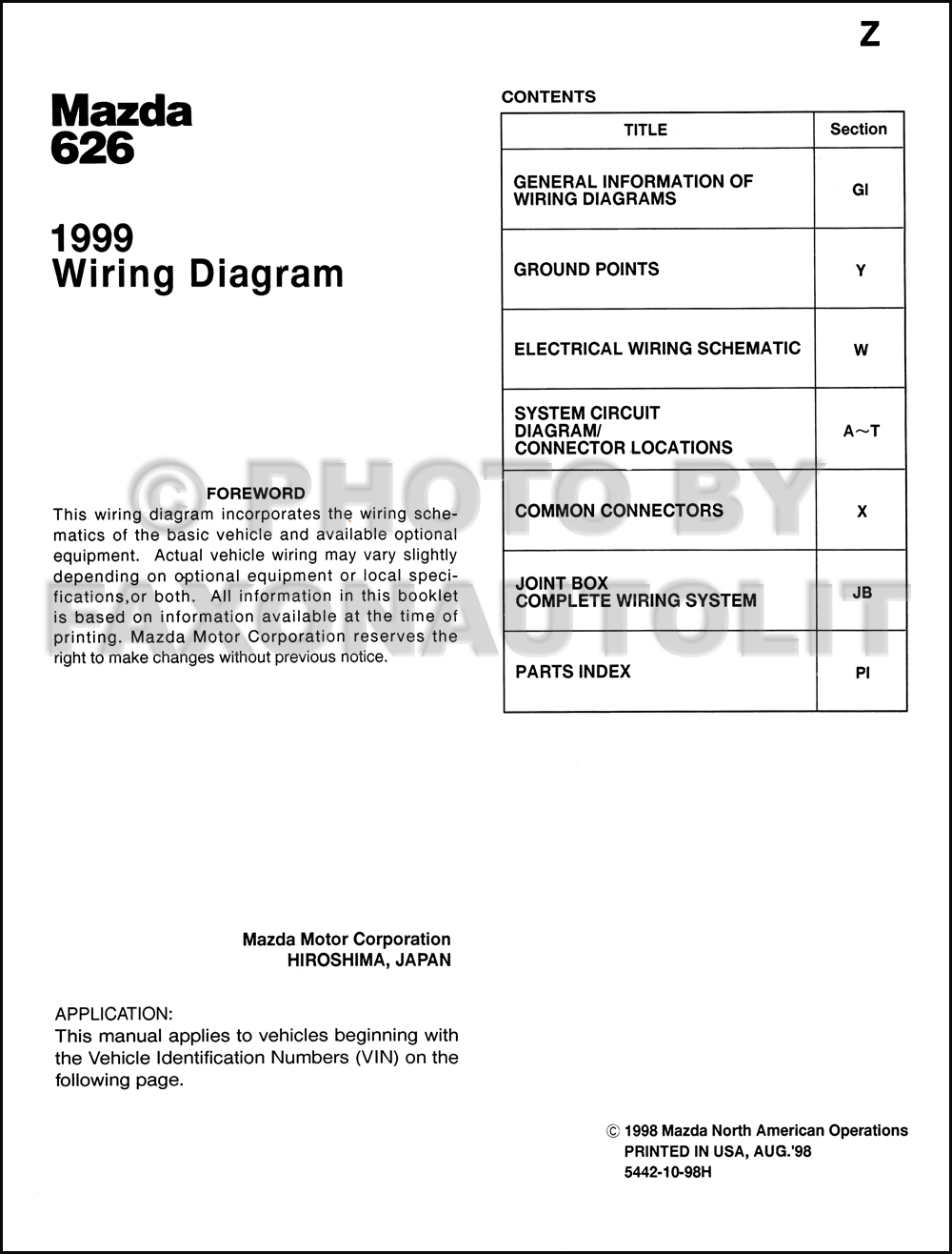 2002 Mazda 626 Wiring Diagram Diagrams Books Of 1999 Manual Original Rh Faxonautoliterature Com 1998 Radio