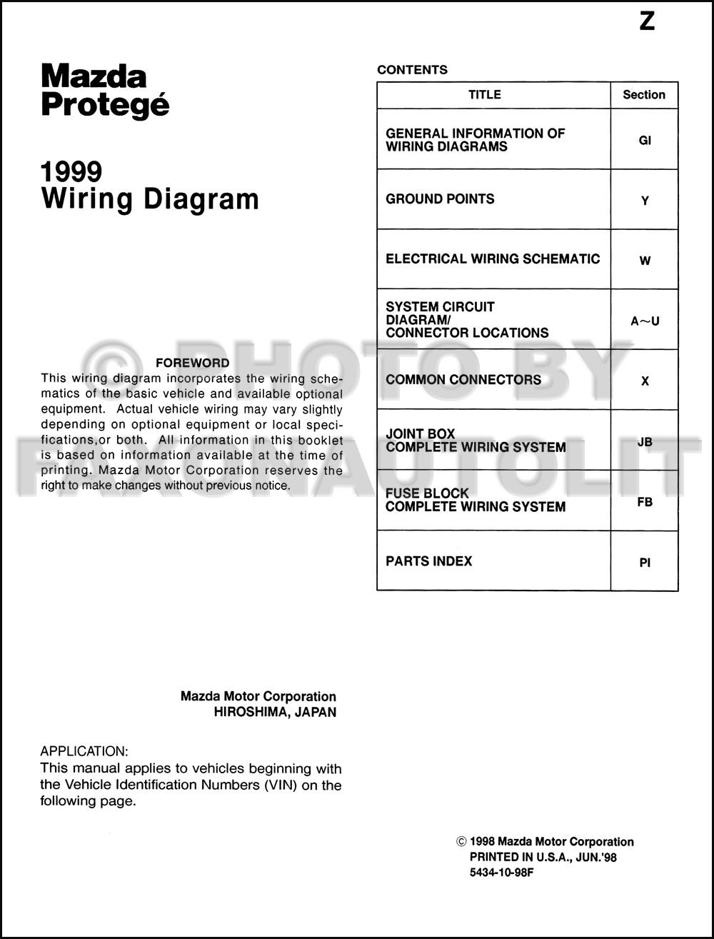 1999 Mazda Protege Wiring Diagram Manual Original 2002 626