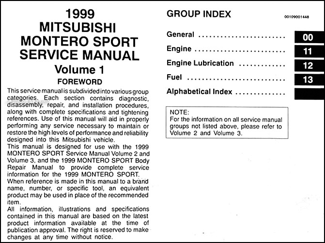 1999 Mitsubishi Montero Sport Repair Shop Manual Set Original