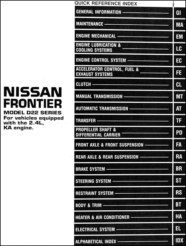 1999 Nissan Frontier Pickup Repair Shop Manual Original 2 4l  Ka Engine