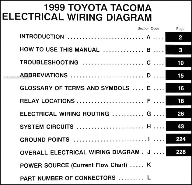1999 toyota tacoma pickup wiring diagram manual original rh faxonautoliterature com toyota tacoma radio wiring diagram toyota tacoma wiring diagram tail lights