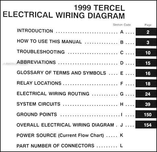 1999 toyota tercel wiring diagram manual original � table of contents