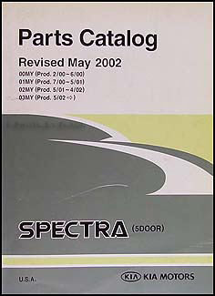 2000-2003 Kia Spectra 5-door Parts Book Original