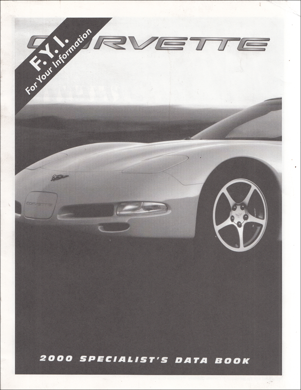 2000 Chevrolet Corvette Data Book Dealer Album Original Insert Supplement