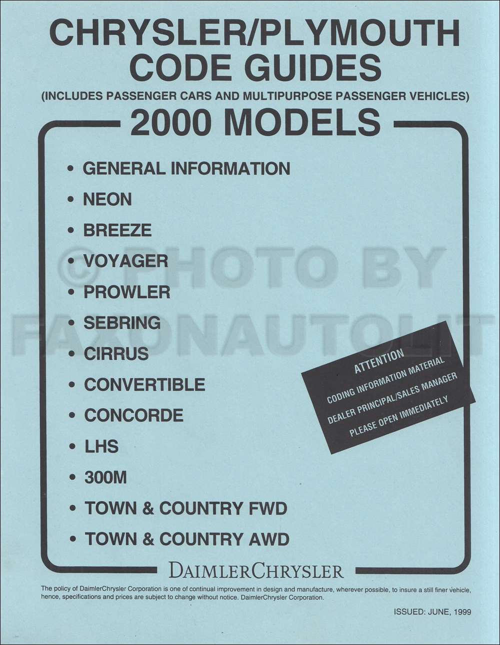 2000 Chrysler Plymouth Ordering Guide Original
