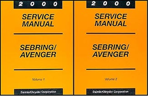 2000 Chrysler Sebring Coupe Dodge Avenger Repair Shop Manual Original 2 Volume Set