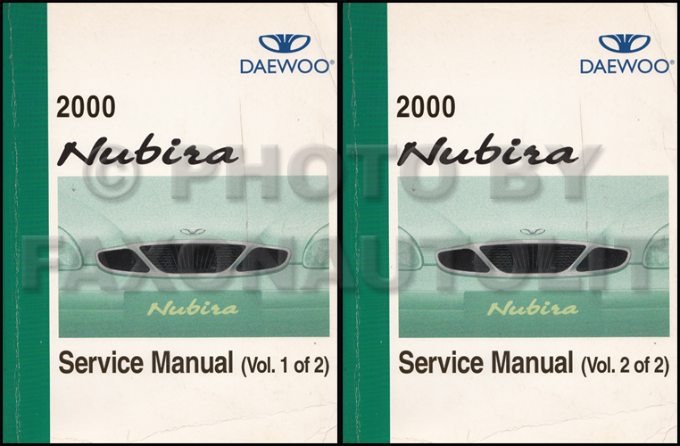 2000 Daewoo Nubira Repair Shop Manual Original 2 Volume Set