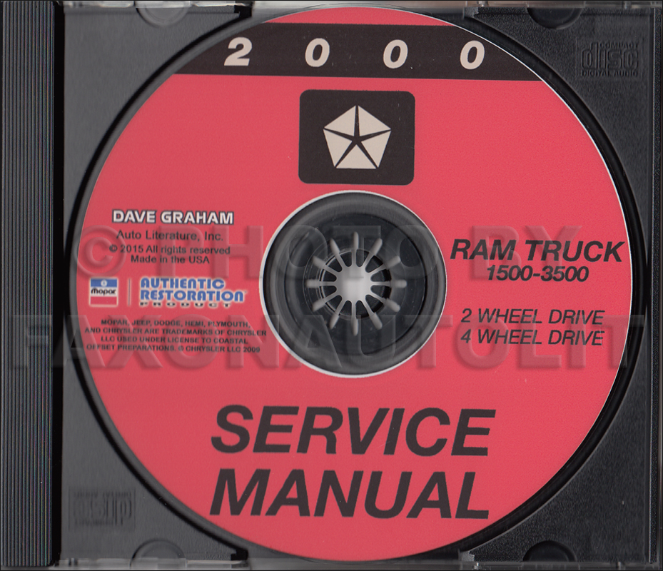 2000 Dodge Ram 1500-3500 Truck Repair Shop Manual CD