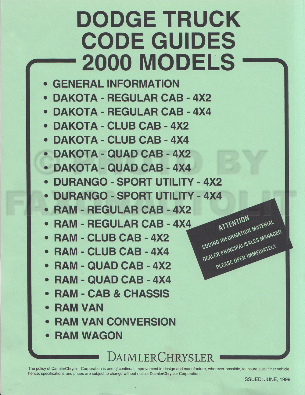 2000 Dodge Truck Ordering Guide Original