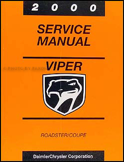 2000 Dodge Viper Coupe and Roadster Repair Manual Original