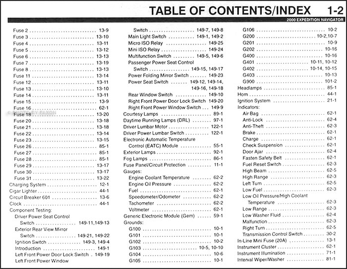 2000 ford expedition lincoln navigator wiring diagram manual original 2001 ford expedition table of contents page 2