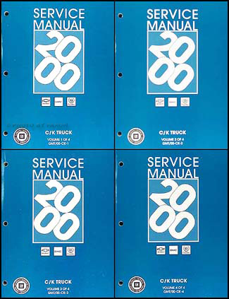 2000 Old Style 2500-3500 Pickup & Escalade Repair Shop Manual Set Chevy GMC Cadillac