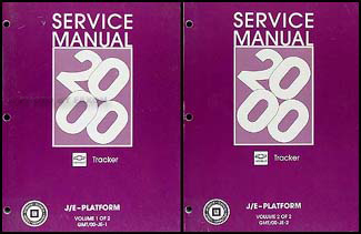 2000 Chevy Tracker Repair Manual Original 2 Volume Set