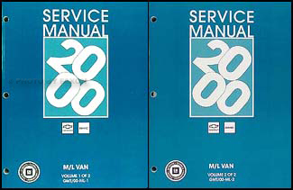 2000 Astro & Safari Repair Manual 2 Volume Set Original