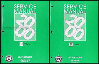2000-2001 Metro Repair Manual Original 2 Volume Set
