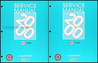 2000 Chevy/Geo Prizm Repair Manual Original 2 Volume Set