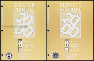 2000 Venture Montana Trans Sport Silhouette Van Repair Shop Manual Set of 2