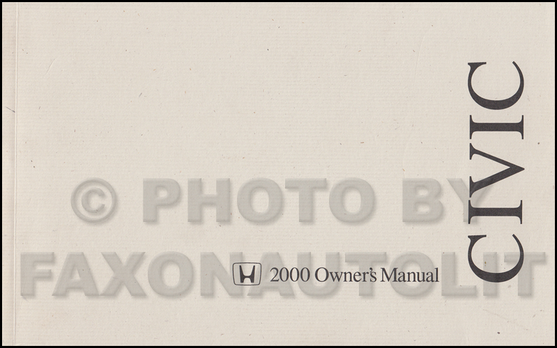 2000 Honda Civic 4 Door Sedan Owner's Manual Original