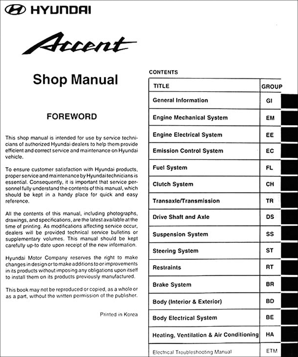 2000 Hyundai Accent Repair Shop Manual Original Schematic Click On Thumbnail To Zoom
