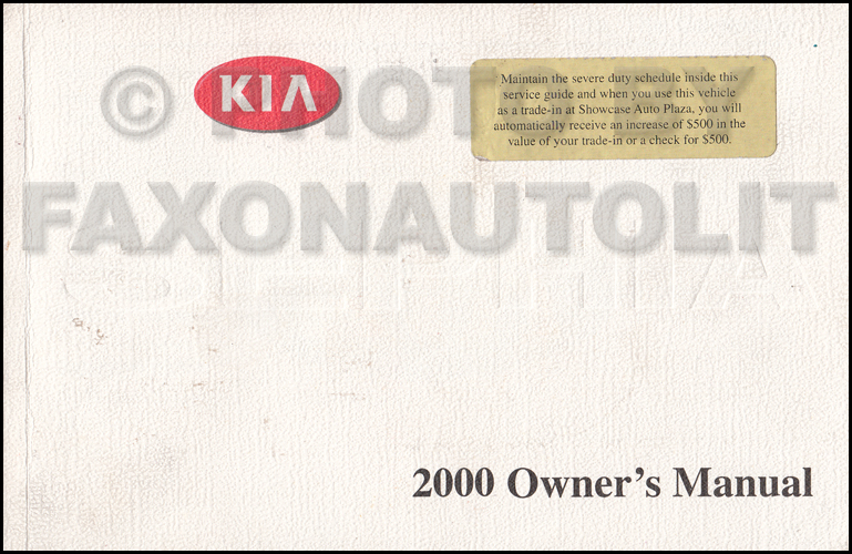 2000 Kia Sephia Owners Manual Original