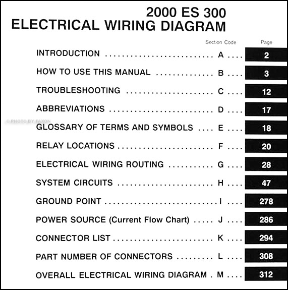2000 Lexus Es 300 Wiring Diagram Manual Original