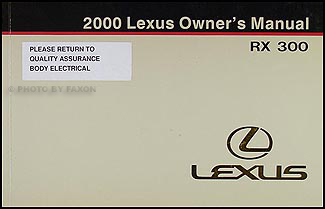2000 Lexus RX 300 Owners Manual Original